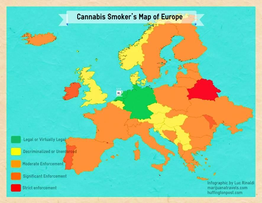 Mapa Europeo de la legalidad de la Marihuana
